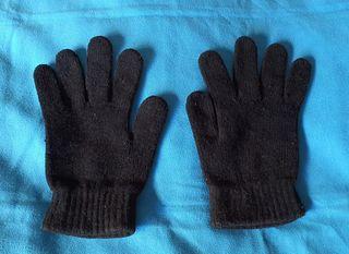 Guantes negros de lana chenilla