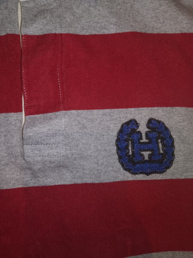 Tommy Hilfiger Big Logo Red & Grey Striped Sweater
