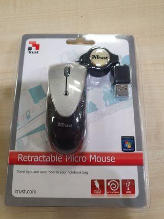 raton pequeño de cable retractil