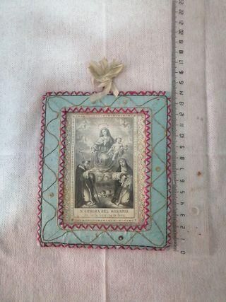 antiguo cuadro bordado religiosos