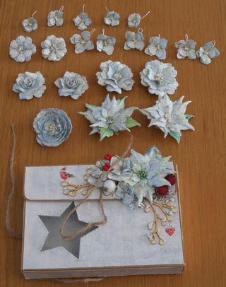 Scrapbooking, flores navideñas en caja decorada