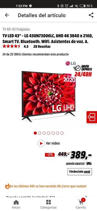 TV LG 43 PULGADAS , SMART 4K MODELO 2020