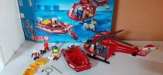 Helicóptero y lancha salvamento Playmobil 4428