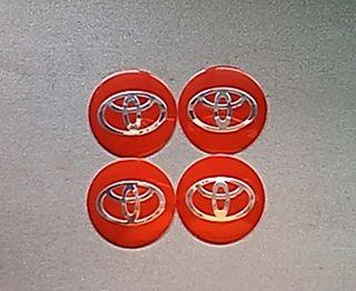 Pegatinas centro llantas Toyota rojo 56mm