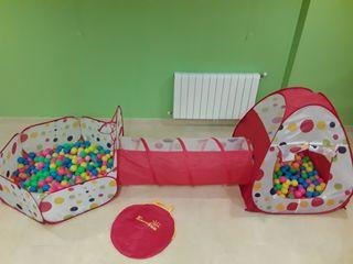 Piscina de bolas + casita de bolas +tunel infantil