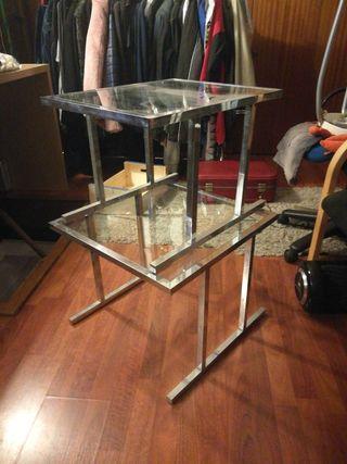2 mesitas de salón de metal con cristal