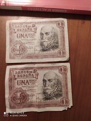 Dos billetes de 1 peseta (1953)