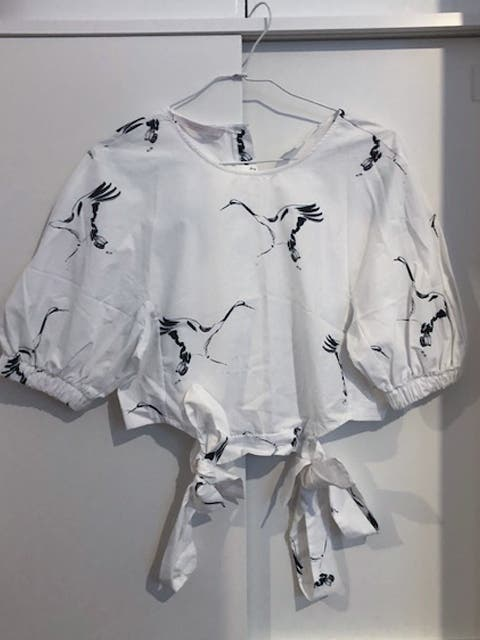 Top blanco estampado pájaros