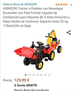 Tractor rojo a pedales con grúa trasera