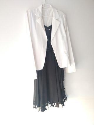 Vestido elegante de gasa y chaqueta