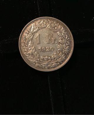 1 franco de plata suizo 1920
