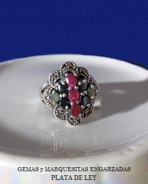 Anillo plata de ley con gemas