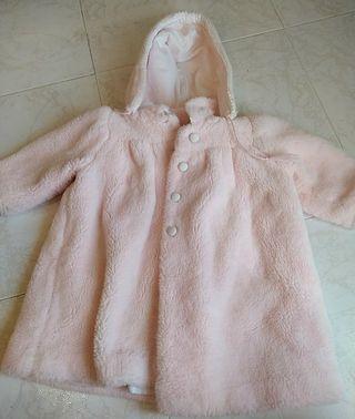 Abrigo de pelo de bebé rosa 1 año aprox