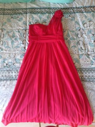 vestido largo rosa fucsia