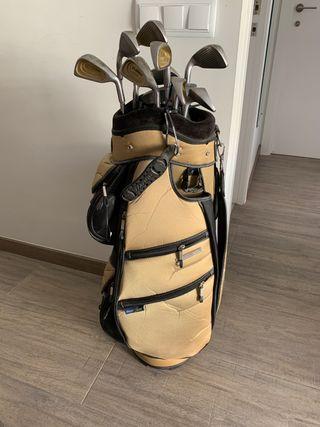 Bolsa y palos de golf