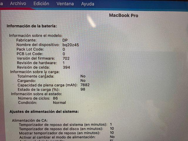 MACBOOK PRO RETINA 15,4 PULGADAS