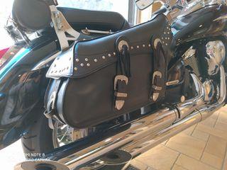 Alforjas cuero HELD moto custom (220 €)
