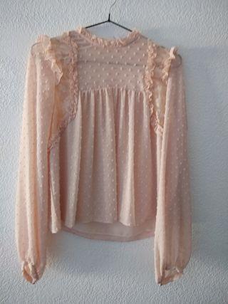 blusa rosa palo plumeti ZARA