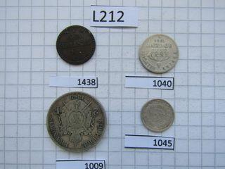 L212- FRANCIA 4 MONEDAS DE 1845/50/66/69
