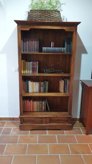 Mueble librería madera natural.