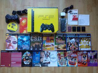 Lote PS2 Slim + 2 Mandos + 8 Juegos + Extras