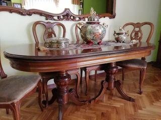 Mesa comedor, espejo y 6 sillas