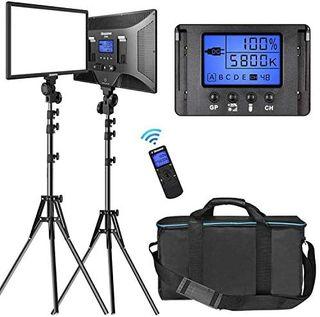 2 Pack Bicolor Luz de Vídeo y Kit de Foco Estudio
