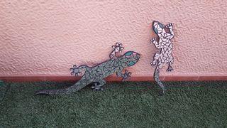 Decoración pared 2 lagartijas cuadro casa terraza