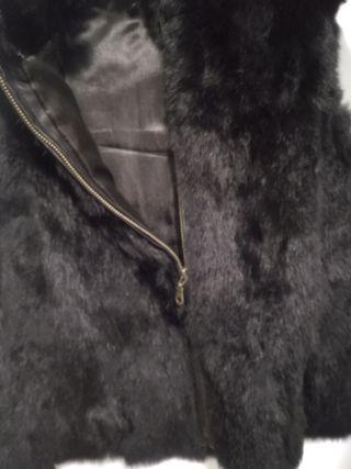 Chaleco negro piel de conejo tS