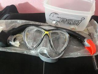 Gafas y Tubo de Buceo Cressi. Cristal de Calidad.