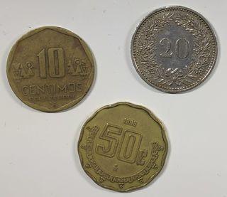 lote 3 monedas, México, Perú y Suiza