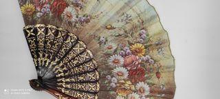 Abanico español vintage encaje pintado a mano