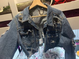 Cropped ripped denim jacket (negotiable price)