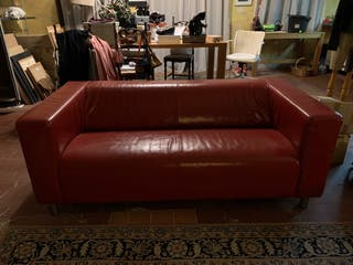 Sofa Rojo de piel IKEA