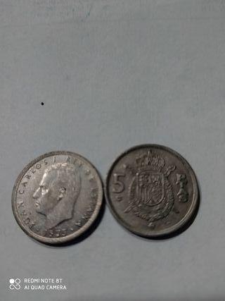 moneda de 5.peseta del rey. año. 1975