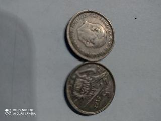 moneda de 5 peseta de franco. 1957