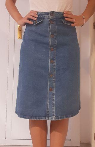 Falda larga vaquera vintage de Zara