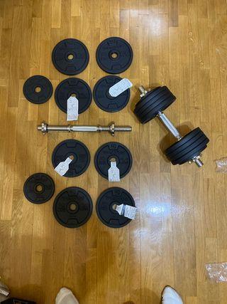 Conjunto mancuernas 40kg pack1