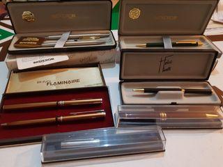 Bolígrafos y lapiz con oro