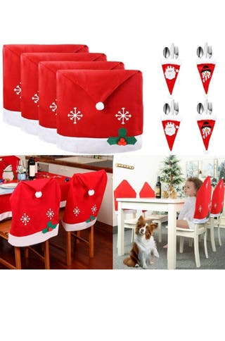 4 PCS Cubierta de la Silla de Navidad