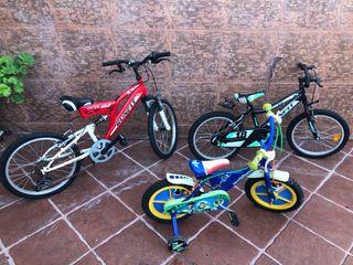 Lote de 3 bicicletas de niños