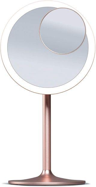 Espejo de maquillaje redondo con aumento y luz led