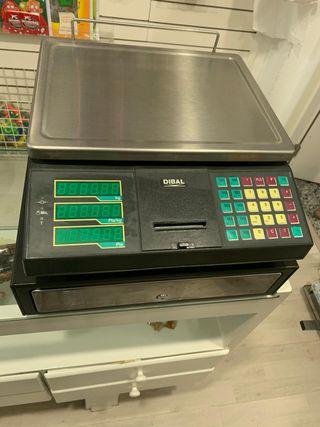 Caja registradora y balanza Dibal