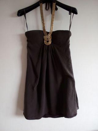 Robe en soie 1,2,3 marron dorée