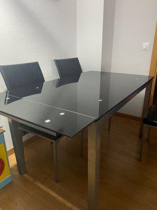 Juego de mesa/salón con 4 sillas ~ negro