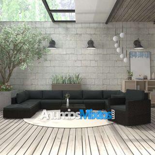 Muebles de jardín de 11 pzas con cojines ratán sin