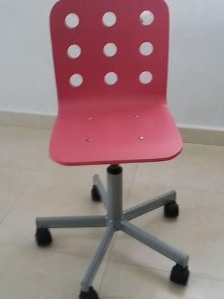 silla eacritorio niña color rosa del ikea