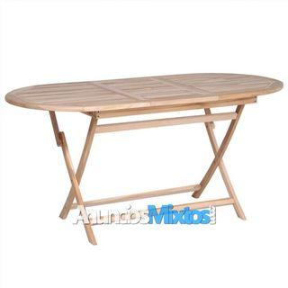 Mesa plegable de jardín madera de teca maciza 160x