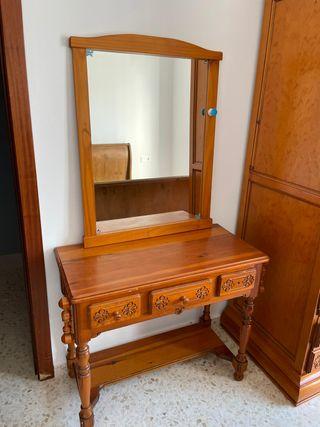 mesa tocador/escritorio y espejo provenzal