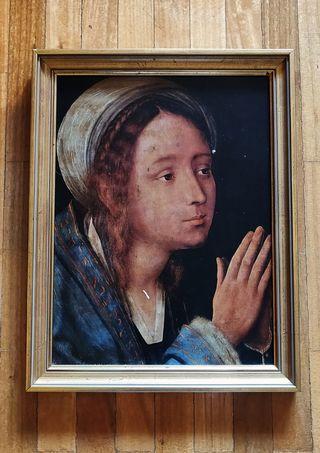 Cuadro religioso pintado en tabla.